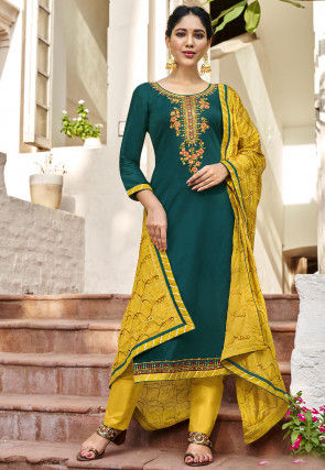 Embroidered Cotton Satin Pakistani Suit in Teal Blue
