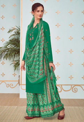 Embroidered Cotton Satin Pakistani Suit in Teal Green