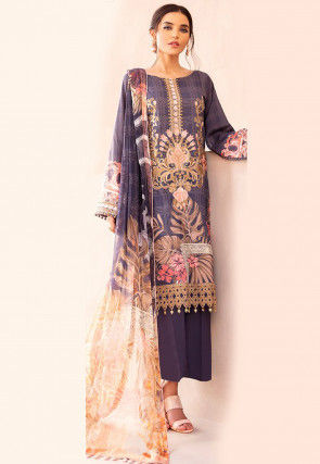 Embroidered Cotton Satin Scalloped Pakistani Suit in Purple