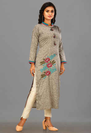 Embroidered Cotton Satin Straight Suit in Beige