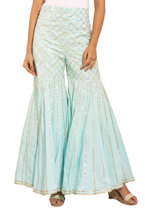 Embroidered Cotton Sharara in Sky Blue