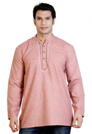 Embroidered Cotton Short Kurta in peach