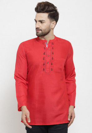 Embroidered Cotton Short Kurta in Red