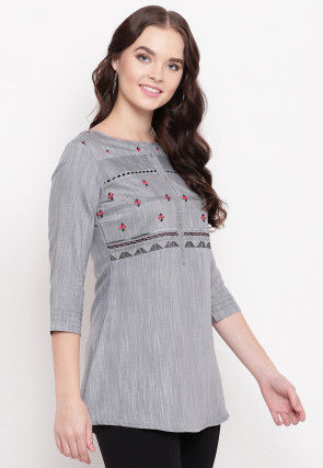 Embroidered Cotton Short Kurti in Grey