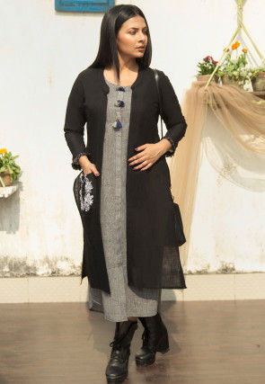 Embroidered Cotton Shrug in Black