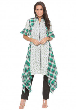 Embroidered Cotton Side Drop Kurta Set in Off White and Green