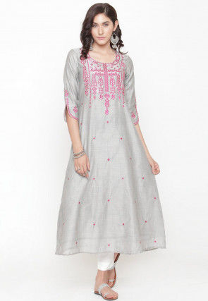 Embroidered Cotton Silk A Line Kurta in Grey