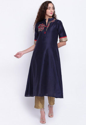 Embroidered Cotton Silk A Line Kurta in Navy Blue