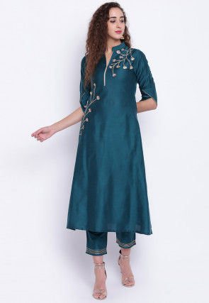 Embroidered Cotton Silk A Line Kurta Set in Teal Blue
