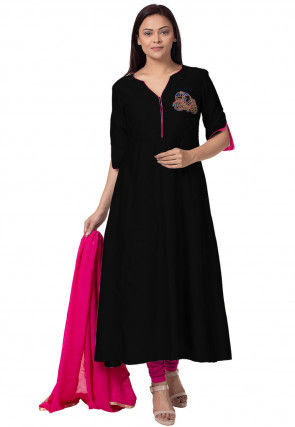 Embroidered Cotton Silk a Line Suit in  Black