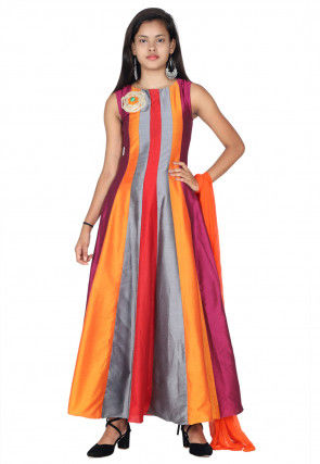 Embroidered Cotton Silk Abaya Style Suit in Multicolor