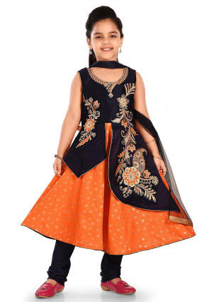 Embroidered Cotton Silk Abaya Style Suit in Orange and Blue
