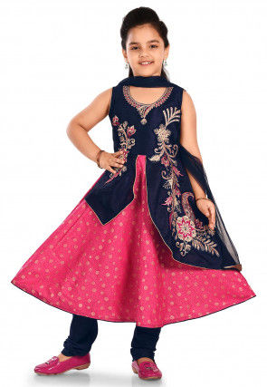 Embroidered Cotton Silk Abaya Style Suit in Pink and Navy Blue