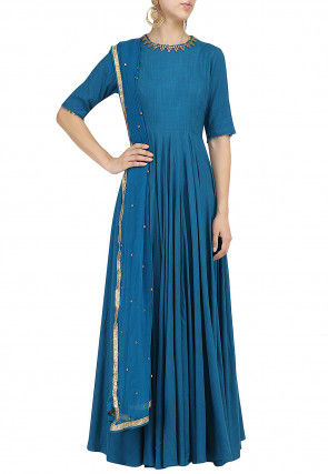 Embroidered Cotton Silk Abaya Style Suit in Teal Blue