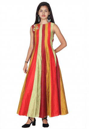 Embroidered Cotton Silk Anarkali Kurta in Multicolor