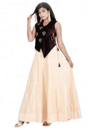 Embroidered Cotton Silk Anarkali Kurta Set in Beige and Brown