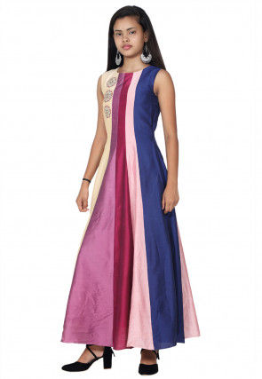 Embroidered Cotton Silk Anarkali Kurta Set in Multicolor