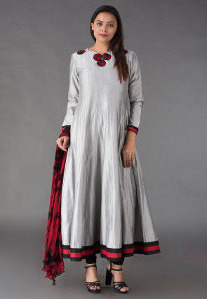 Embroidered Cotton Silk Anarkali Suit in Grey