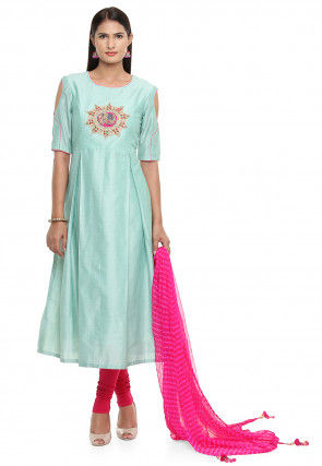 Embroidered Cotton Silk A Line Suit in Turquoise