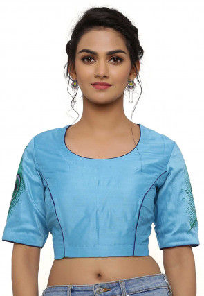 Embroidered Cotton Silk Blouse in Light Blue