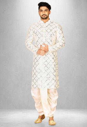 Embroidered Cotton Silk Dhoti Kurta in Cream