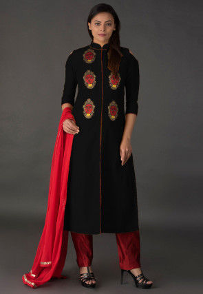 Embroidered Cotton Silk Front Slit Pakistani Suit in Black