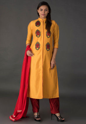 Embroidered Cotton Silk Front Slit Pakistani Suit in Mustard