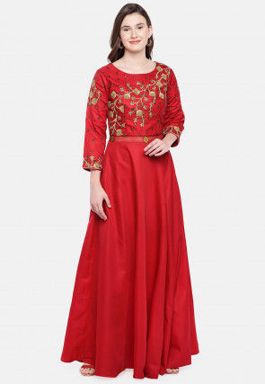 Embroidered Cotton Silk Gown in Crepe