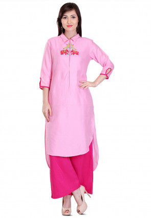 Embroidered Cotton Silk High Low Kurta Set in Pink