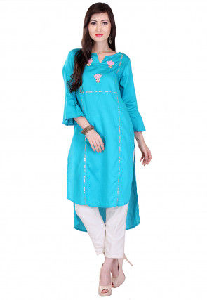 Embroidered Cotton Silk High Low Kurta Set in Turquoise