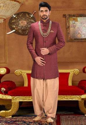 Embroidered Cotton Silk Jodhpuri Suit in Dark Old Rose