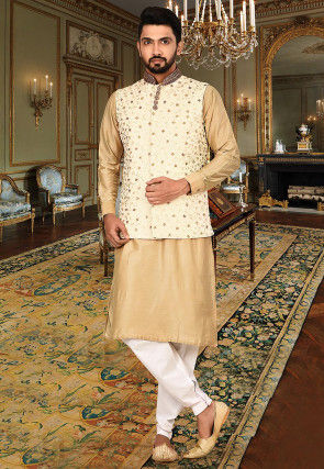 Embroidered Cotton Silk Kurta Jacket Set in Beige and Off White