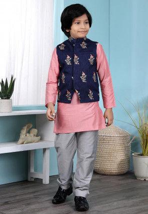 Embroidered Cotton Silk Kurta Jacket Set in Pink