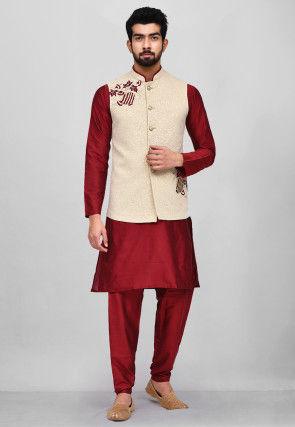 Embroidered Cotton Silk Kurta Jacket Set in Red