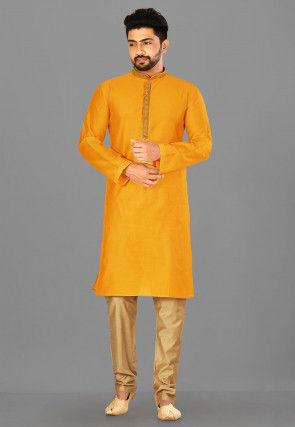 Embroidered Cotton Silk Kurta Pajama in Mustard