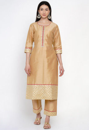 Embroidered Cotton Silk Kurta Set in Beige