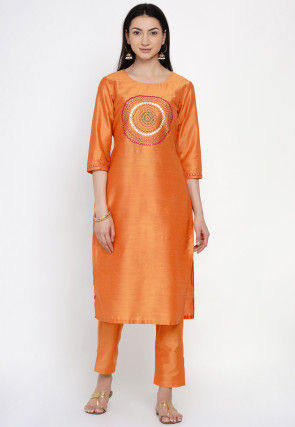 Embroidered Cotton Silk Kurta Set in Orange
