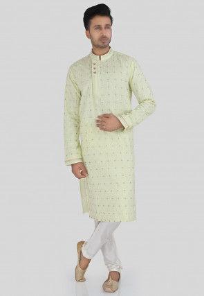 Embroidered Cotton Silk Kurta Set in Pastel Green
