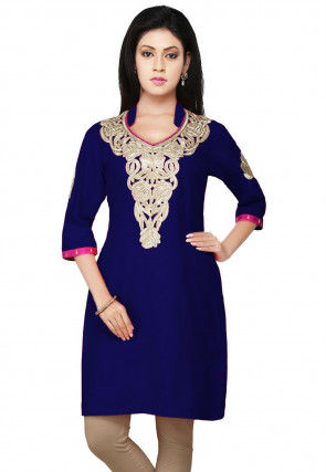 Embroidered Cotton Silk Kurti in Royal Blue