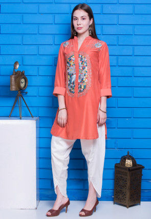 Embroidered Cotton Silk Kurti Set in Orange