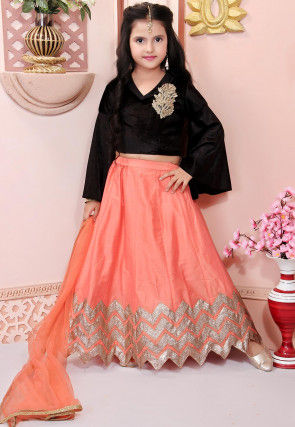 Embroidered Cotton Silk Lehenga in Peach