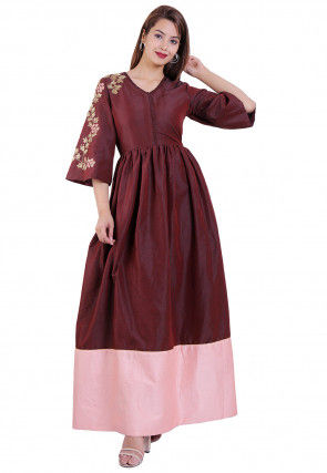 Embroidered Cotton Silk Maxi Dress in Maroon