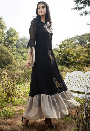 Embroidered Cotton Silk Maxi Dress in Black and Off White