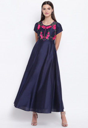 Embroidered Cotton Silk Maxi Dress in Navy Blue