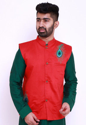 Embroidered Cotton Silk Nehru Jacket in Red