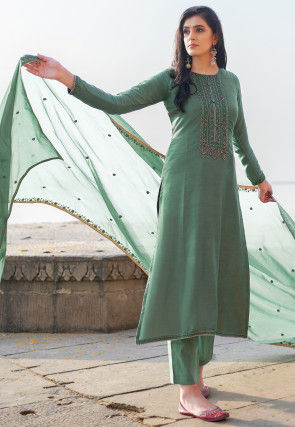 Embroidered Cotton Silk Pakistani Suit in Dusty Green