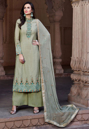 Embroidered Cotton Silk Pakistani Suit in Dusty Olive Green