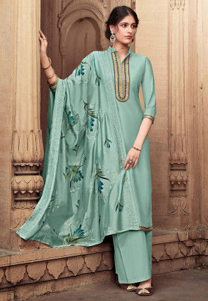 Embroidered Cotton Silk Pakistani Suit in Dusty Sea Green