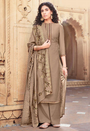 Embroidered Cotton Silk Pakistani Suit in Fawn