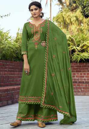 Embroidered Cotton Silk Pakistani Suit in Green